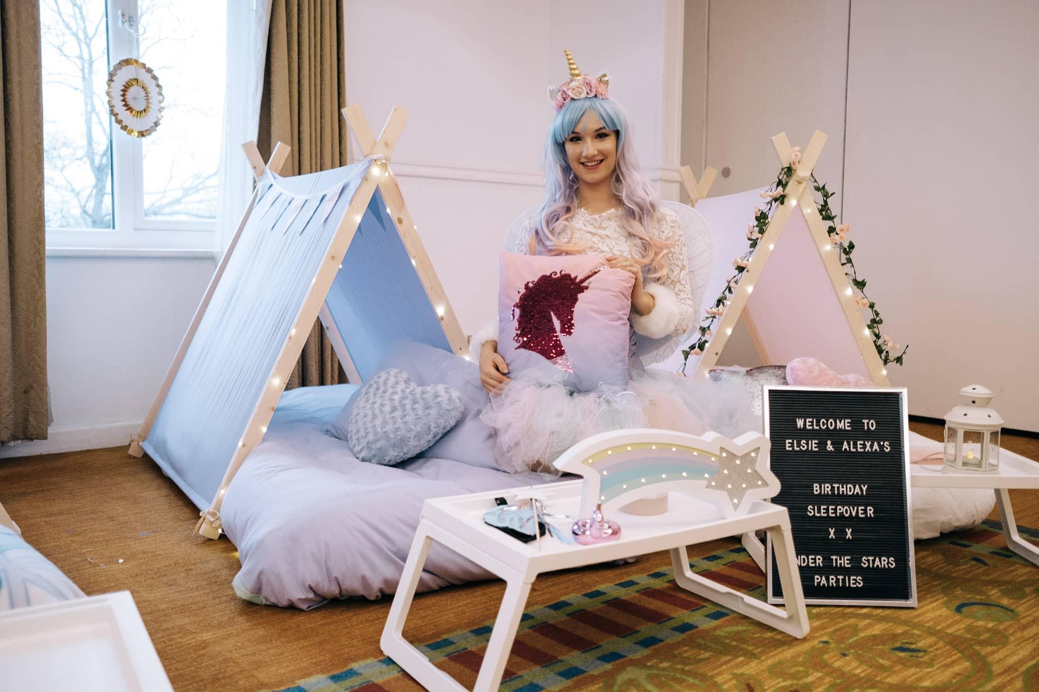 unicorn sleepover princess teepee party kent under the stars